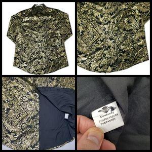 Mens Coofandy shirt, size S, color black/gold, exc